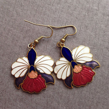 Orchid  Cloisonne Earrings Dangle 1970s