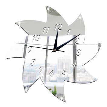 Windmill Mirror Wall Clock Kid Room Decoration Creative Sticking   silver