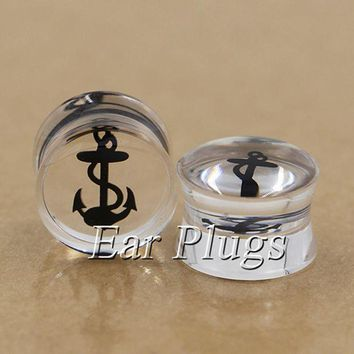 ac PEAPO2Q 2pcs Transparent acrylic sailor anchor ear plug gauges flesh tunnel plugs body piercing jewelry PDP0001