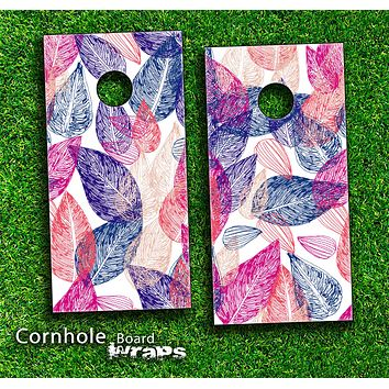 Colorful Seamless Floral Leaves Skin-set for a pair of Cornhole Boards