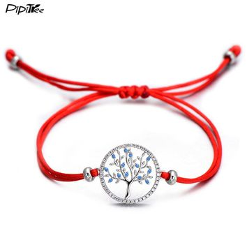 Pipitree Blue Zircon Life Tree in Middle and Border of CZ Stones Adjustable Red String Charm Bracelets for Women Lucky Jewelry