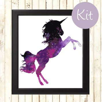 Unicorn Modern Cross Stitch Kit, Purple Unicorn