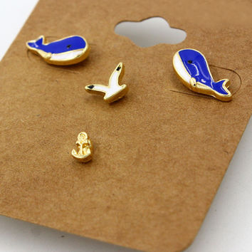 Royal Blue Whale and Gull Anchor Earrings Pack