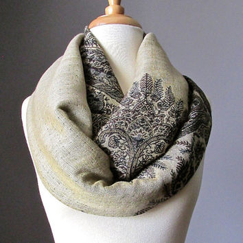 Beige and Chocolate Brown scarf, pashmina, infinity scarf, fern scarf, perfect fall scarf, Christmas gift