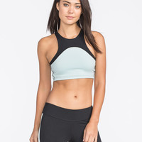 Full Tilt Sport High Neck Sports Bra Black/Mint  In Sizes