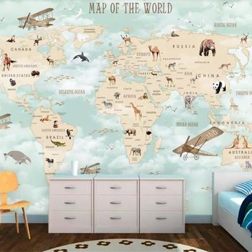 Custom Size Mural Kids Room Wall 3d Photo Wallpaper Cartoon Airplane Sailing Animals World Map Picture Background 3d wallpaper