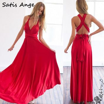 Satis Ange 11 color summer sexy women maxi dress red bandage long dress Multiway Bridesmaids Convertible Dress robe longue femme