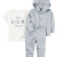 3-Piece Heathered Little Cardigan Set