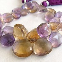 Ametrine Briolettes, faceted heart beads, Amethyst and Citrine gemstone, Full Strand (4w54)