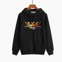 """""""Armani"""" Unisex Couple Sport Casual Multicolor Logo Letter Print Thickened Long Sleeve Hooded Sweater Sweatshirt Tops"""