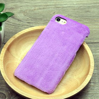 Purple Winter Fur Warm Case Cover for iPhone 7 7 Plus & iPhone se 5s 6 6s Plus +Gift Box