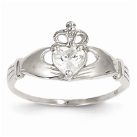 14k White Gold Birthstone Claddagh Heart Ring