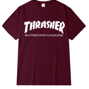 """Thrasher""Fashion print leisure short sleeve T-shirt wine red"