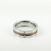 Fashion Men's CZ Diamonds Inlaid Titanium Steel Rings