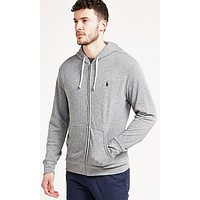 Polo Ralph Lauren Fashionable Unisex Casual Logo Embroidery Zipper Hoodie Pullover Top Sweater Coat Grey I-KWKWM