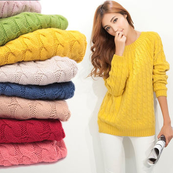 O-neck Long Sleeve Twisted Knit Sweater