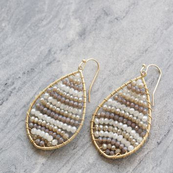Grey Beaded Teardrop Earring
