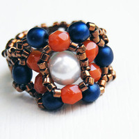 Beaded stretch ring in red white and blue american flag colors