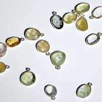 Aquamarine 10-12mm Oval Silver Bezel Charms 5 Pieces