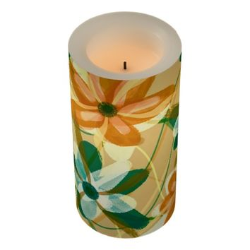 Copper Green Pastel Flowers Candle