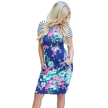Chicloth Royal Blue Striped Short Sleeve Body-hugging Floral Dress