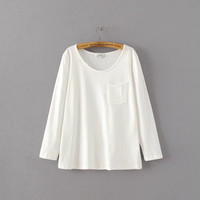 Autumn Women's Fashion With Pocket Long Sleeve White T-shirts Bottoming Shirt [8542230407]