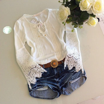 Feelingirl New 2015 Spring Summer Women Blouses Fashion Casual Lace Shirts White Blouses White Lace Tops = 1696899972