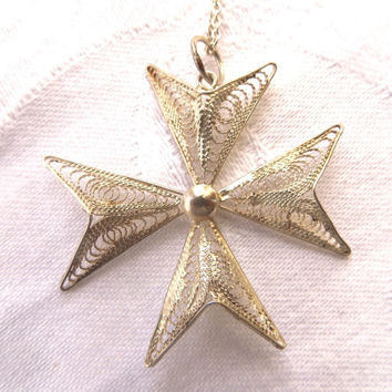 "Vintage Maltese Cross Necklace, Sterling Silver Cannetille, Silver Filigree Cross, 17"" Chain"