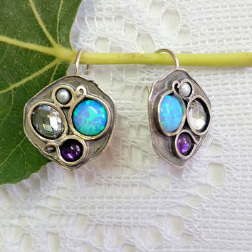 Multistone earrings, Silver Gemstone earrings, Unique silver earrings, Dangle earrings, Multicolor Earrings, Israeli jewelry, Gift for her