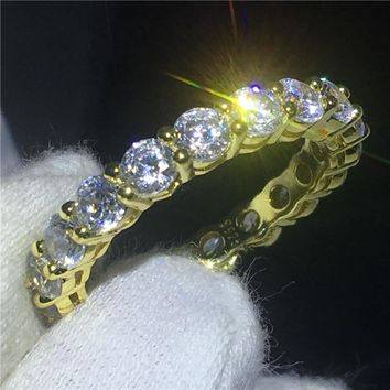 Fashion infinity Band ring Yellow Gold Filled 925 silver Anniversary wedding rings for women men AAAAA zircon crystal