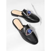 Rhinestone Eye Loafer Mules