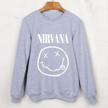 2017 New Real Big Smile Pattern Women Sweatshirts Nirvana Print Hoodies Sleeve Size Tracksuits Grey Hooded Chandal Mujer Hoody