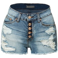 LE3NO Womens Stretchy Button Down Destroyed Denim Shorts with Pockets