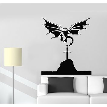 Vinyl Wall Decal Flying Dragon Medieval Tales Mythology Wings Sword Stickers Mural (g605)