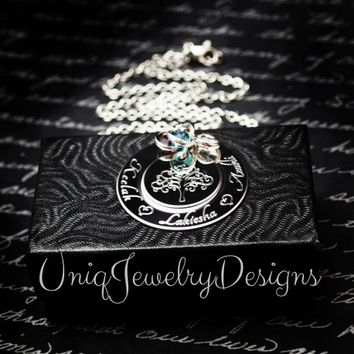 Personalized Tree Of Life Engraved Tier Necklace - UniqJewelryDesigns