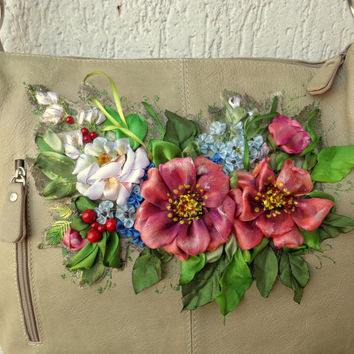 Leather bag embroidered, ribbon flowers, decor embroidered, silk ribbon