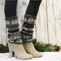 SNOWFLAKE CHIC leg warmers - charcoal