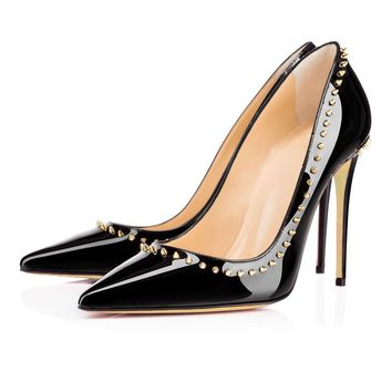 Rivets Low Cut Pointed Toe Stiletto Heel Heels Party Shoes