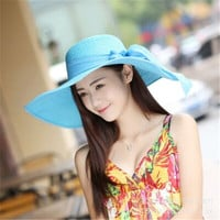 2016 Women Women's hat summer women brimmed hat beach big floppy sun hat chapeau sexy new brand
