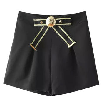 Black Bow Tie High Waist Shorts