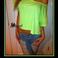 VICTORIA'S SECRET PINK NEON GREEN CROP T SHIRT TOP SO SEXY LARGE