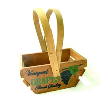 Small Wood Basket Grape Wine Decor Stationary Handles Wooden Farmhouse Country Kitchen