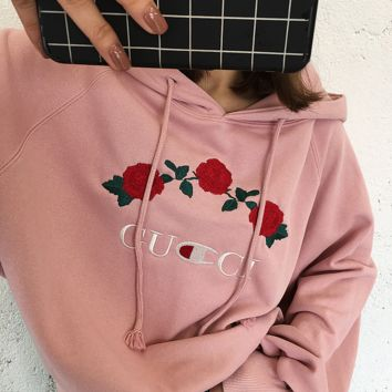 '' GUCCI '' Hot Sale Embroidery Rose Flower Blouse loose type Hoodie Sweatershirt