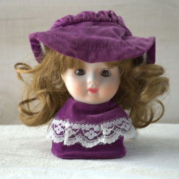 Vintage Bisque Porcelain Doll Head and Shoulders with Hair and Hat