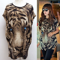 New Fashion Women's T-shirt Batwing-sleeve Tiger Animal Print T-shirt Spring-Summer Blouse VVF (Color: Leopard) = 1946857092