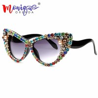 Sunglasses Women Luxury Brand glasses Colorful Rhinestone Cat Eyes Sunglasses Vintage Shades