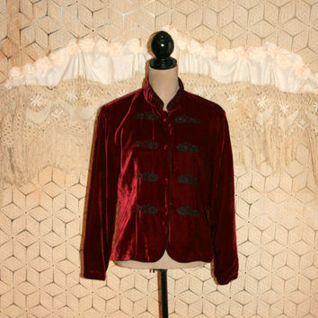 Gypsy Jacket Red Velvet Jacket Bohemian Jacket Silk Boho Hippie Gypsy Clothing Embroidered Beaded Nehru Mandarin Collar Large Women Clothing