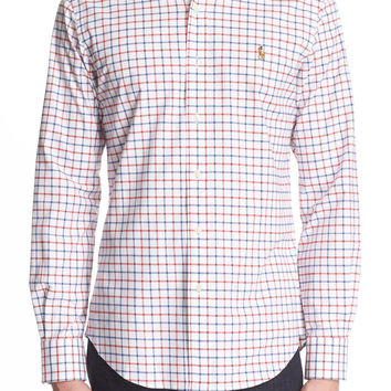 Trim Fit Windowpane Plaid Oxford Sport Shirt