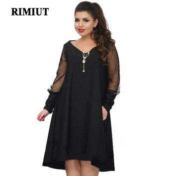 Rimiut Casual Embroidery Women Dresses Big Sizes 3 Colors Mesh Long Sleeve Sexy V Neck Bodycon Plus Size Loose Fat MM Dress