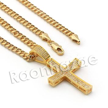 Lab diamond Micro Pave Convex Jesus Cross w/ Miami Cuban Chain BR045